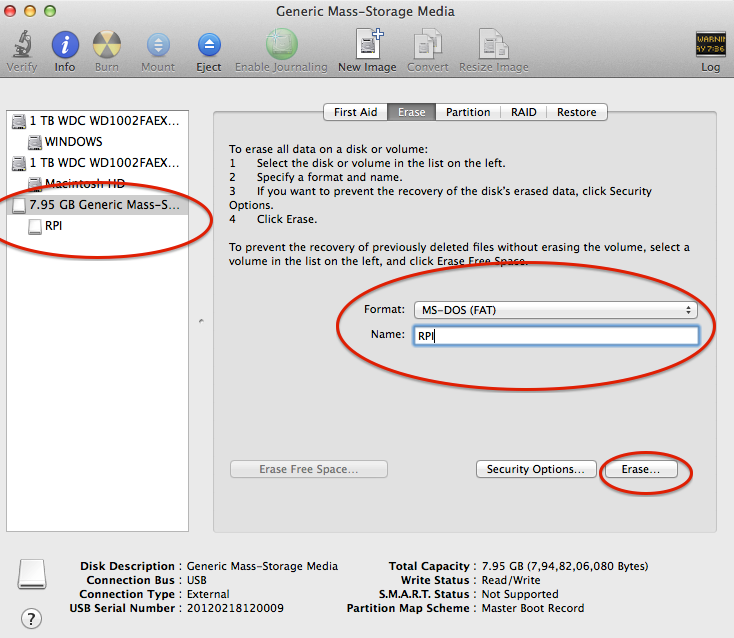 Format USB/SD Card on Mac OS X